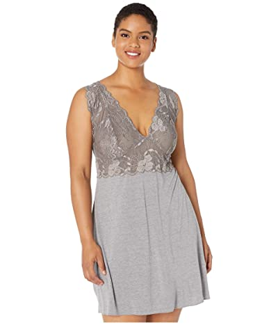Natori Plus Size Zen Floral Chemise (Heather Grey) Women
