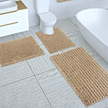 Yimobra 3 Piece Bathroom Rugs Bath Mats Sets, Shaggy Chenille Bath Rug 24x17 + Extra Absorbent Bath Floor Mat 31.5x19.8 + ...