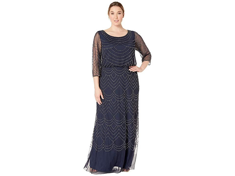 4d598ba7 Adrianna Papell Plus Size 3/4 Sleeve Art Deco Beaded Blouson Gown (Navy) Women's  Dress