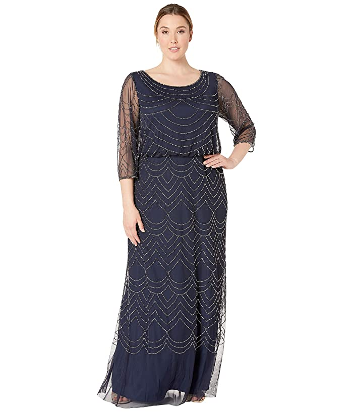 1920s Plus Size Flapper Dresses, Gatsby Dresses, Flapper Costumes Adrianna Papell Plus Size 34 Sleeve Art Deco Beaded Blouson Gown Navy Womens Dress $155.40 AT vintagedancer.com