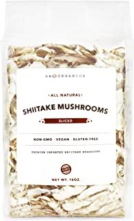 SB Organics White Flower Sliced Shiitake Mushrooms - All Natural Vegan and Gluten-Free Dried Sliced Mushrooms - 16 oz.