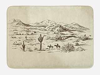 Ambesonne Western Bath Mat, Wild West Landscape Illustration with Mountains Desert Plants Cowboys on Horses, Plush Bathroom Decor Mat with Non Slip Backing, 29.5