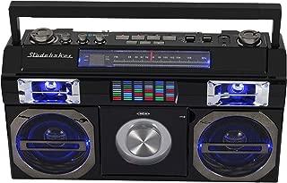 Studebaker SB2145B 80's Retro Street Bluetooth Boombox with FM Radio, CD Player, LED EQ, 10 Watts RMS Power and AC/DC