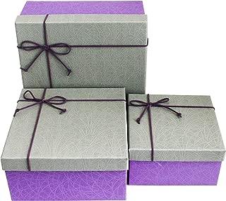 Emartbuy Conjunto de 3 Rígido Lujo Forma Cuadrada Presentación de Caja de Regalo, Caja Púrpura Con Tapa Gris, Interior Marrón Chocolate y Lazo Decorativo Con Cinta de Gamuza