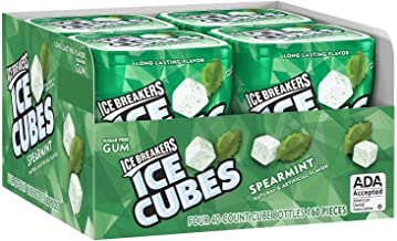 Ice Breakers Gum, Sugar Free Ice Cubes with Xylitol, Spearmint, 40 Piece (Pack of 4)