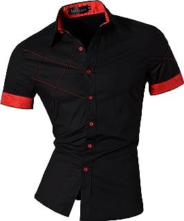 Men's Casual Slim Fit Short Sleeves Dress Shirts Tops 8360