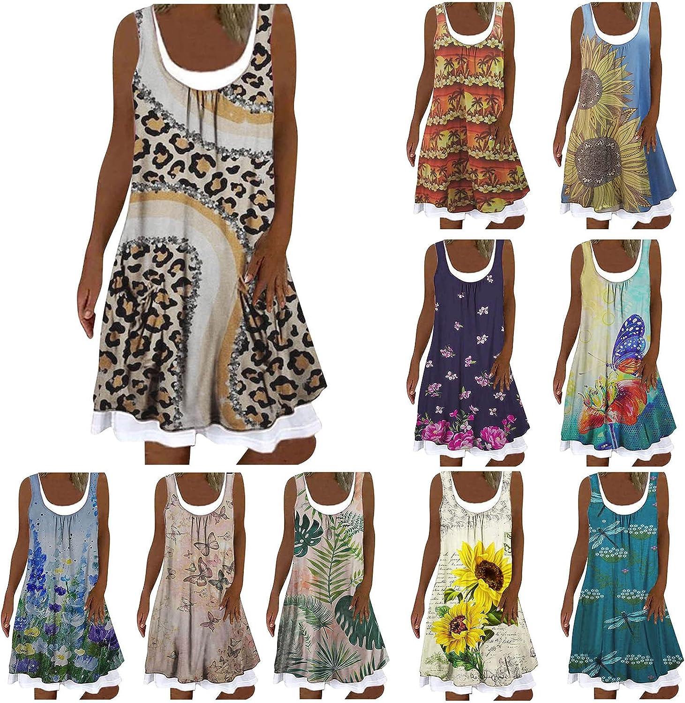 ORT Plus Size Dresses for Women Casual Fashion Print Sexy O Neck Sleeveless Tank Dresses Beach Romper Midi Length Dress