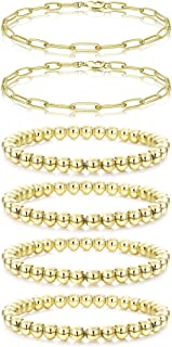 YADOCA 14K Gold Plated Beaded Bracelets for Women Gold Layered Paperclip Beads Link Chain Bracelets Stretchable Elastic Br...