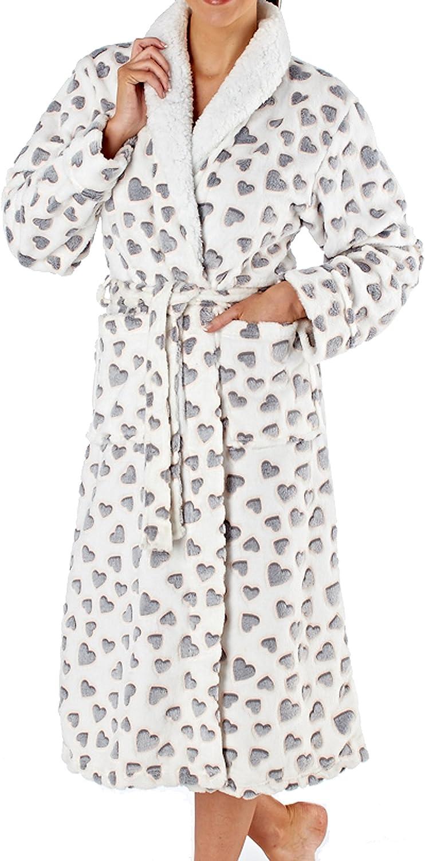 Ladies 120cm White with Grey Soft 240GSM Fleece Collar Bath Robe Dressing Gown
