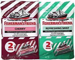 Sugar Free Fisherman's Friend Lozenges: Cherry & Refreshing Mint [1 Pack of Each Type = 2 Packs Total]