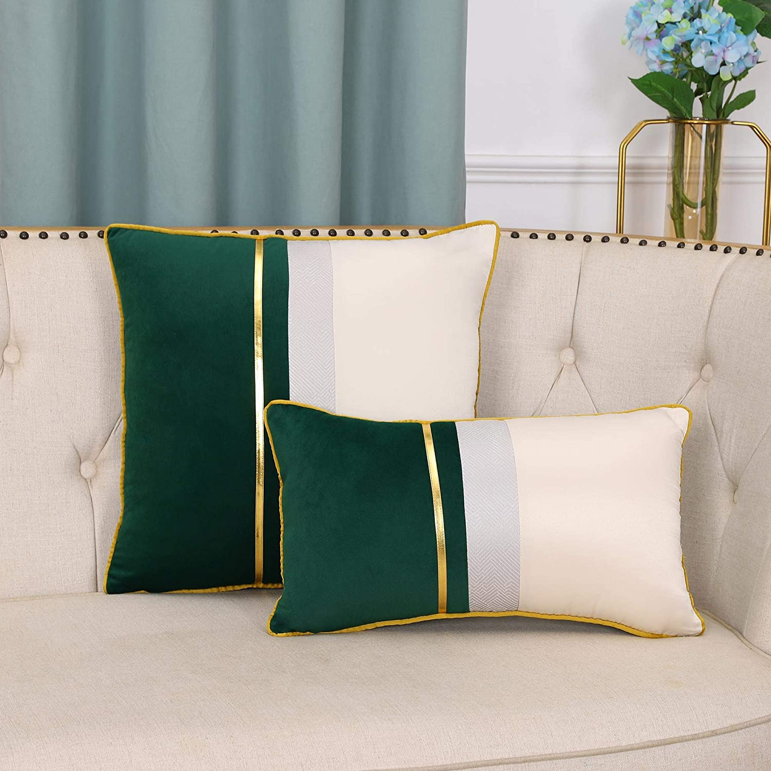 EECCA 2-Packs Gold Leather Striped Max 47% OFF Case Velvet Cushion Patchwork Genuine