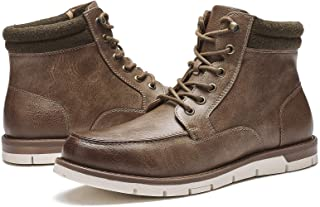 Kkyc Mens Boots Fashion Waterproof Hiking Boots Casual Work Boots Slip on Lace-up Chukka Boots
