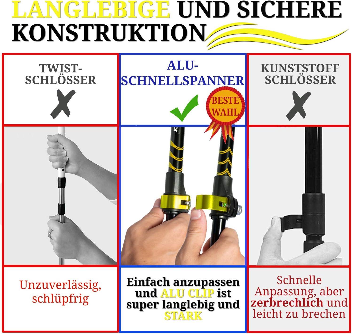 Korkgriff SpOutdoor/® Wanderst/öcke Teleskop Trekkingst/öcke Aluminium 7075 Leicht stark und Klemmverschluss Einziehbarer Teleskop Walking st/öcke