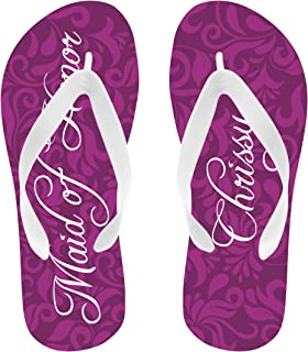 621ca3b198ae Personalized Maid of Honor Flip Flops White