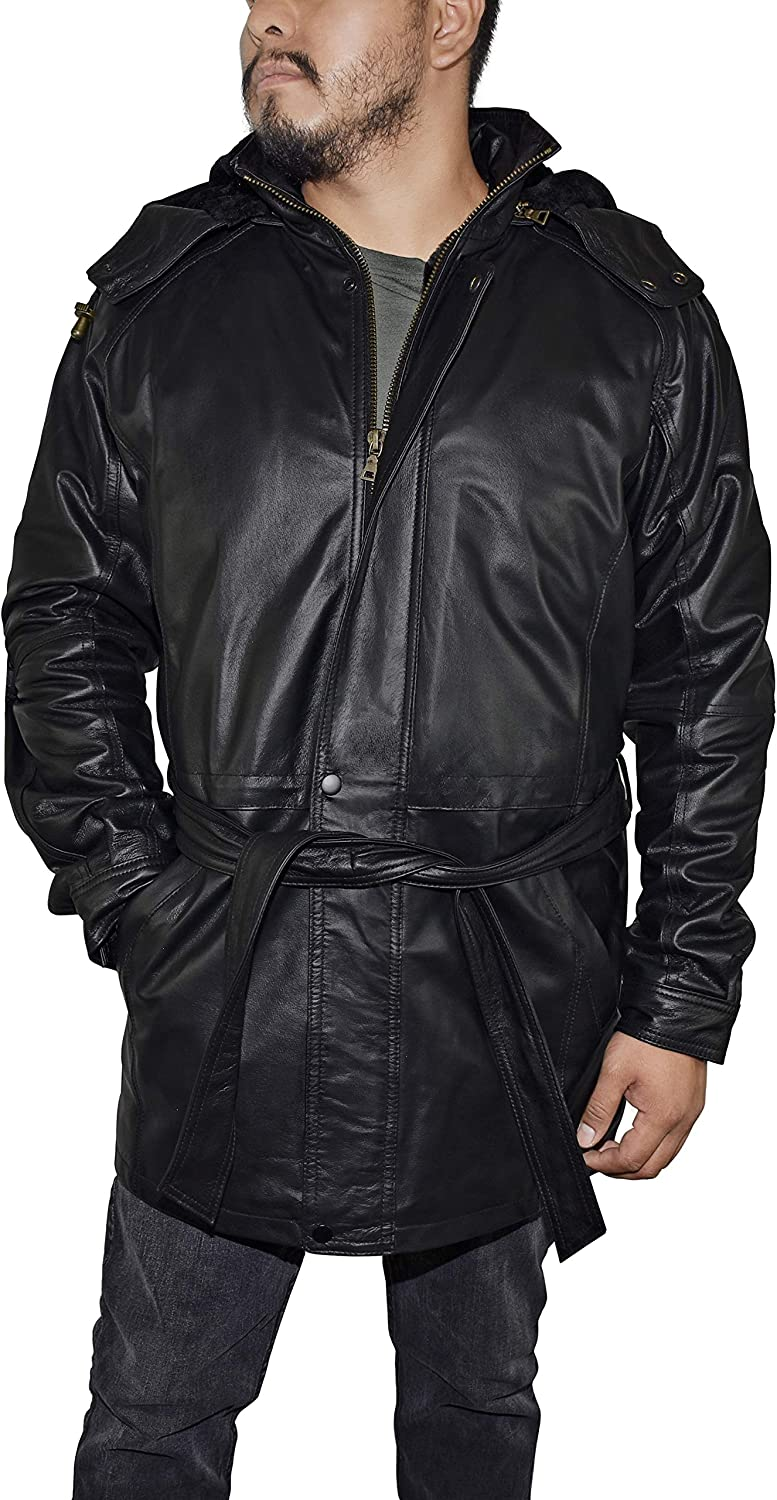 Victory Outfitters Men's 3/4 Length Genuine Leather Coat w/Removable Hood