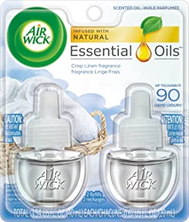 Air Wick plug in Scented Oil 2 Refills, Fresh Linen, (2x0.67oz), Same familiar smell of fresh laundry, New look, Packaging...