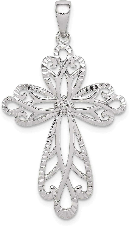 Sterling Silver NEW Trust Diamond and Cross Diamond-cut Pendant