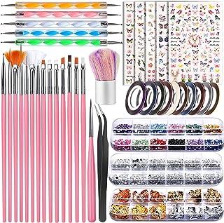 Nail Art Brushes set, Teenitor Nail Dotting Tools and Brushes, Nail Art Foil Flakes, Nail Striping Tape, Butterfly Nail Ar...