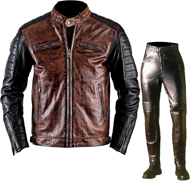 Mens Black & Brown Vintage Cafe Racer Retro Quilted Biker Brando Motorcycle Leather Jacket