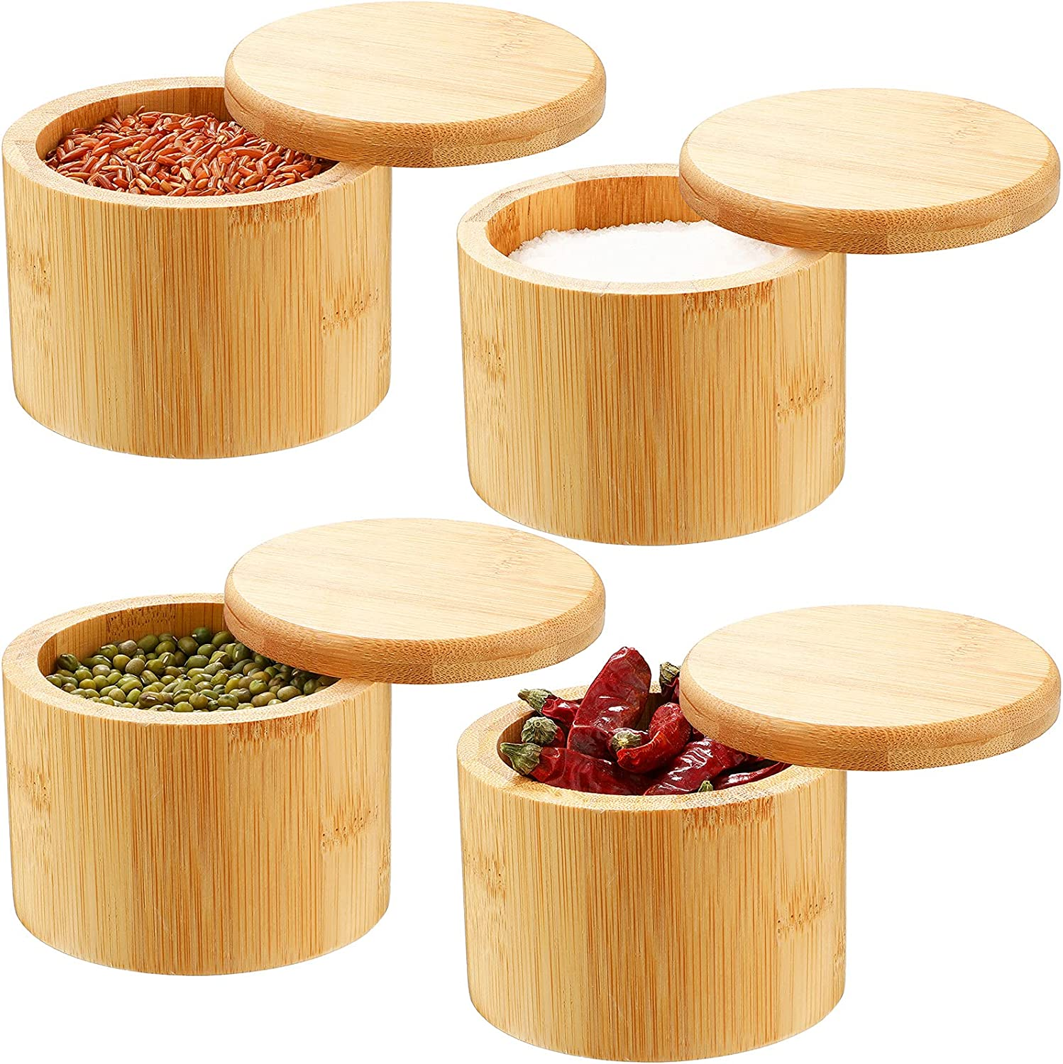 4 At the price of surprise Pieces Bamboo Salt Storage with and Challenge the lowest price of Japan ☆ Swivel Magnetic S Lid