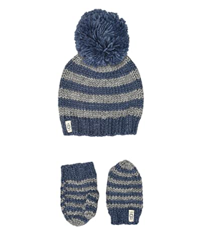 UGG Kids Chunky Stripe Knit Hat and Mitten Set (Toddler/Little Kids) (Ensign Blue) Caps
