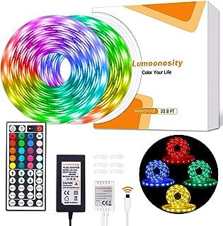 Lumoonosity LED Strip Lights. Waterproof 32.8ft 12V Flexible LED Light Strips Kit. RGB Color Changing LED Lights for Bedroom, Room, Bar, Home, Indoor, Outdoor Decoration with 44 Keys Remote Controller