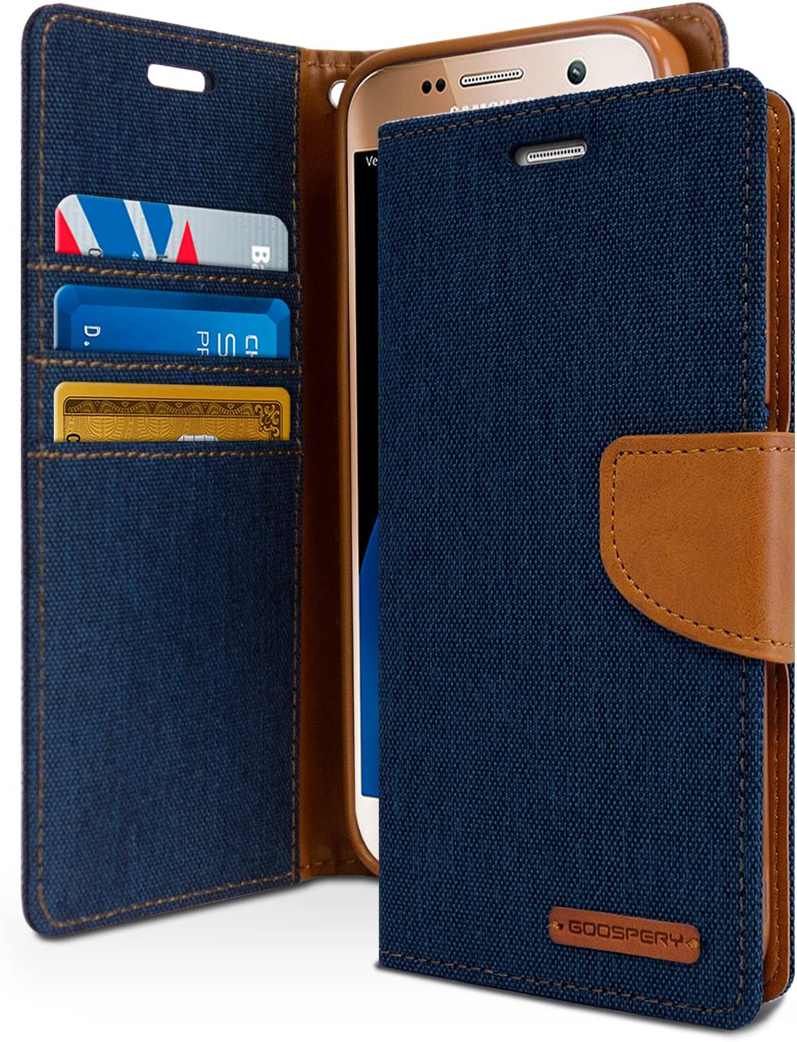 Goospery Canvas Wallet for Samsung Galaxy S7 Case (2016) Denim Stand Flip Cover (Navy) S7-CAN-NVY