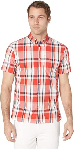 Short Sleeve Printed Plaid Popeline Woven