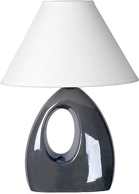 Lucide 14558/81/36 Hoal - Lámpara de mesa (cerámica y algodón), color gris