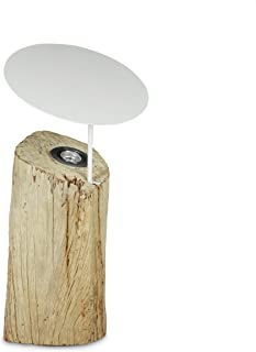 Relaxdays 10020063_58 Lampe à poser au sol lampe sur pied en bois avec LED intégrée décoration tronc d'arbre avec abat-jou...