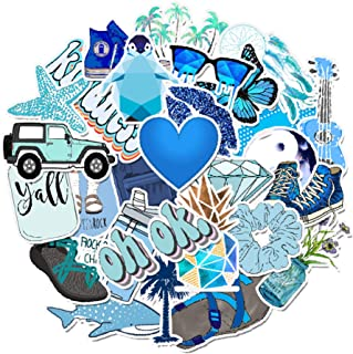 Cute Stickers 50 PCS, Stickers for Teens,Girls,Kids,Adults - Stickers for Waterbottles,Laptop,Phone,Hydro Flask Travel Vinyl Stickers Waterproof (Blue Series)