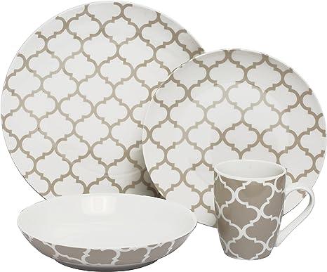 Melange Coupe 16 Piece Porcelain Dinnerware Set Grey Harmony Service For 4 Microwave Dishwasher Oven Safe Dinner Plate Salad Plate Soup Bowl Mug 4 Each Kitchen Dining
