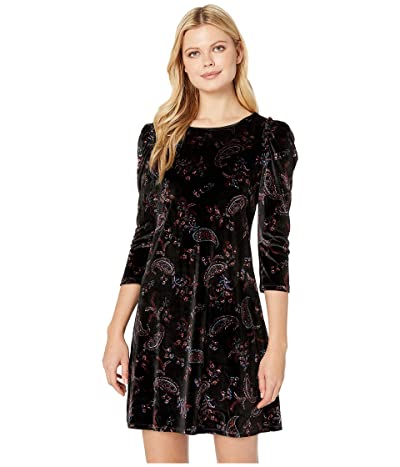 CeCe 3/4 Sleeve Enchanted Paisley Fleur Dress (Rich Black) Women