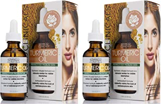 Advanced Clinicals Turmeric Oil for face. Antioxidant formula with Rose Extract and Jojoba oil for dry skin, redness, and skin blemishes. Large 1.8oz glass bottle with dropper. (Two - 1.8oz)