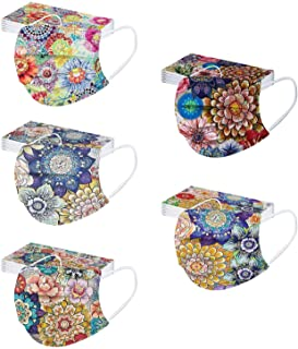 50PC Floral Print Disposable Face_Mask for Women Colorful Patterned Disposable Face_Mask Vintage Design for Adults Spring ...