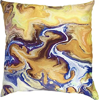 MuaToo Decorative Art Marble Abstract Texture in Yellow Blue Orange Purple and Green Throw Pillow Case Cushion Cover 18