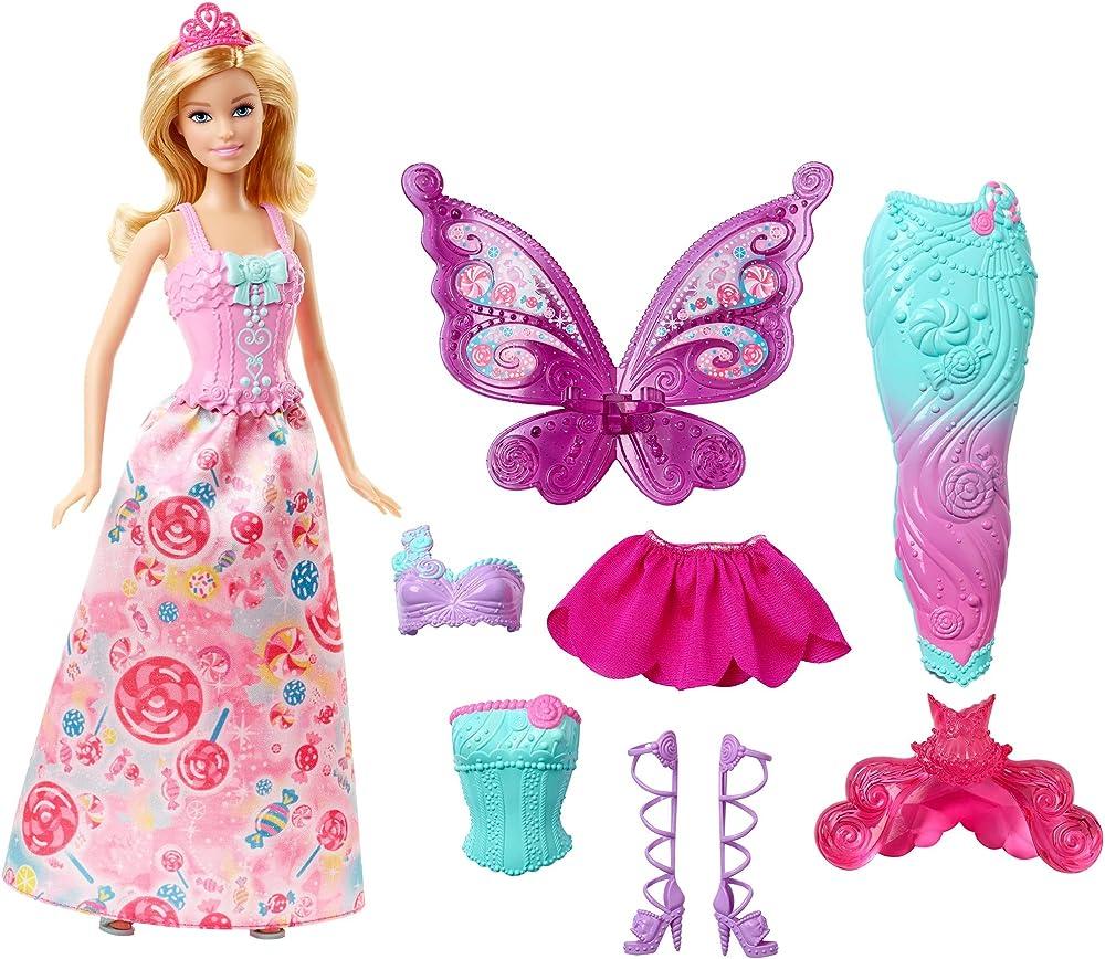 Barbie,bambola con 3 completini da favola di principessa, sirena e fatina. DHC39