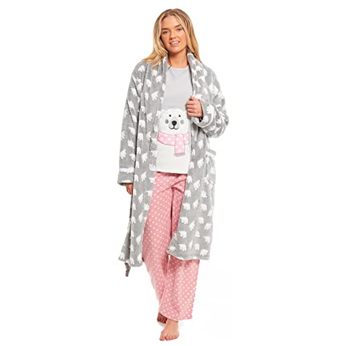 MyShoeStore Ladies Bear Dressing Gown Pyjamas Set Womens Polar Micro Fleece Nightwear  PJS Lounge Wear Bathrobe 6afa77d5a