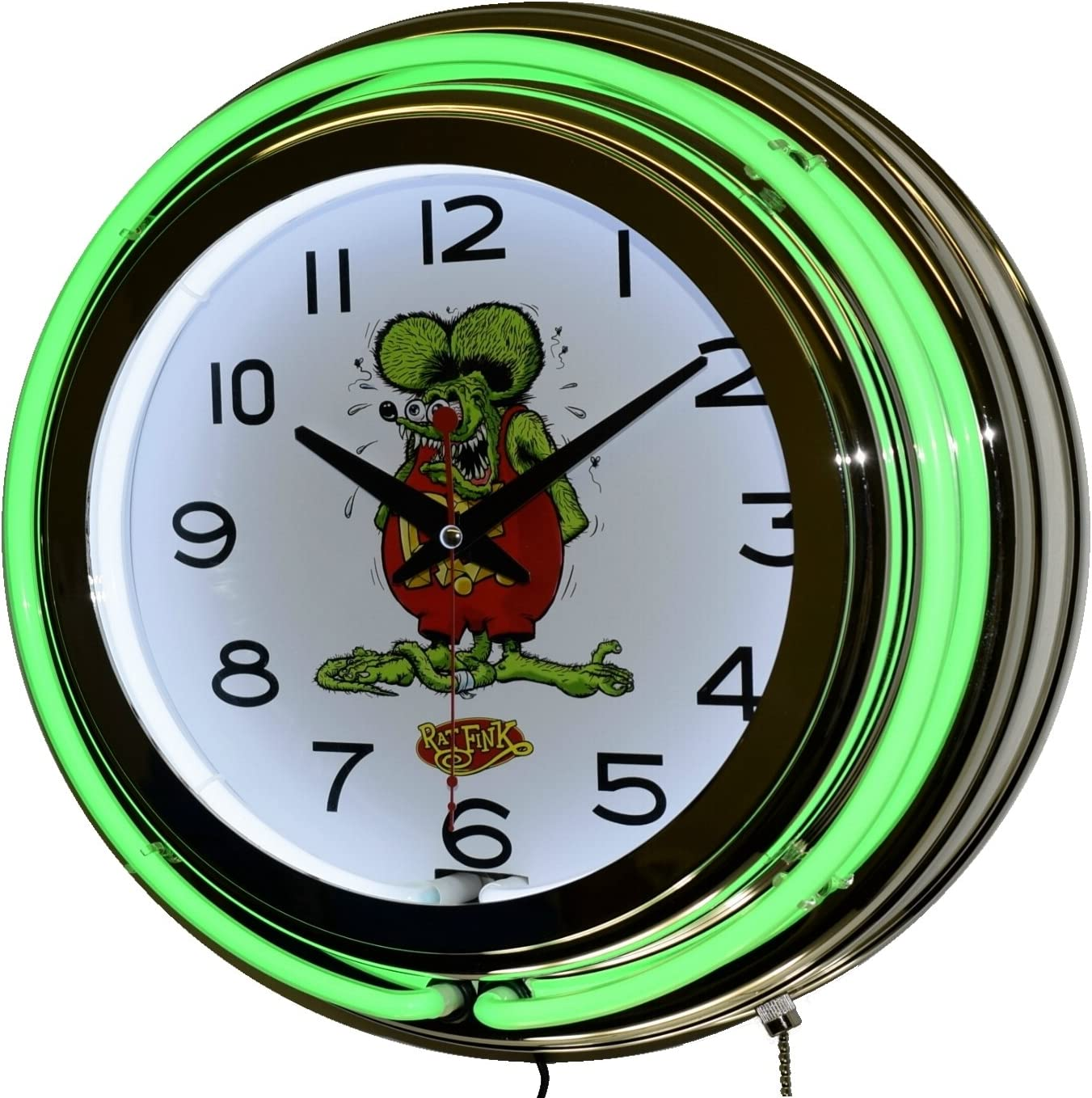 Max 47% OFF Rat Fink Nostalgic Green Double Neon Chrome Lighted Clock Financial sales sale Wall