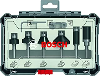 Bosch Professional 2607017470 6-Piece Edge Cutter Set (for Wood, for Router with 1/4 Zoll Shank), Colour, Zoll