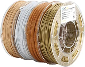 AMOLEN PLA 3D Printer Filament, 1.75mm, Set with Bronze, Marble, Wood, Shining Gold, each Spool 225g, 4 Spools Pack, Includes Sample Changing Color with Sunlight and Glow in the Dark Filament