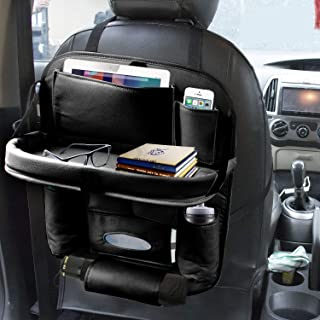 Coku Car Backseat Organizer with Tablet Holder,9 Storage Pockets PU Leather Car Storage Organizer with Foldable Table Tray...