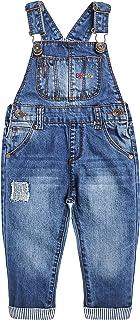 Baby&Little Boys Girls Big Bib Pocket Patched Washed Cotton Denim Overalls