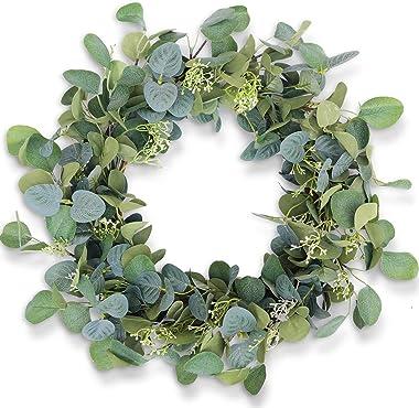 "HomeKaren Eucalyptus Wreaths for Front Door 20"", Handmade Green Leaves Wreath for Summer, Spring and All Seasons, Greener"