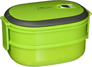 Microwavable Lunch Box- Stacking Two Tier Tiffin with Vacuum Seal Lid with carrying handles- BPA Free