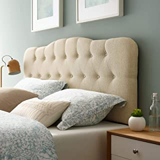 Modway Annabel Tufted Button Linen Fabric Upholstered Queen Headboard in Beige