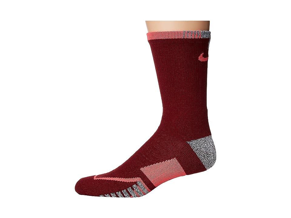 Nike NIKEGRIP Elite Crew Tennis Socks (Team Red/Hot Punch) Crew Cut Socks Shoes