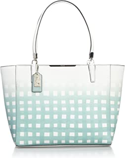 Madison East/west Tote in Gingham Saffiano Leather White/ Duck Egg