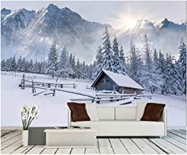 wall26 - Old Farm in The Mountains. Foggy Winter Morning. - Removable Wall Mural | Self-Adhesive Large Wallpaper - 100x144 inches