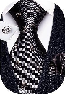 Barry.Wang Fun Animal Ties برای مردان طراح دستمال Cufflink WOVEN ست گردن